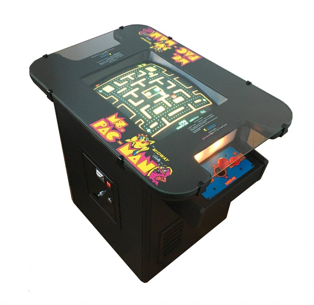 Vintage Arcade Games >> Ms. Pac-Man Cocktail Table Video Arcade Game for Sale- Black | Arcade Specialties Game Rentals