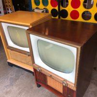 vintage console tv walnut console