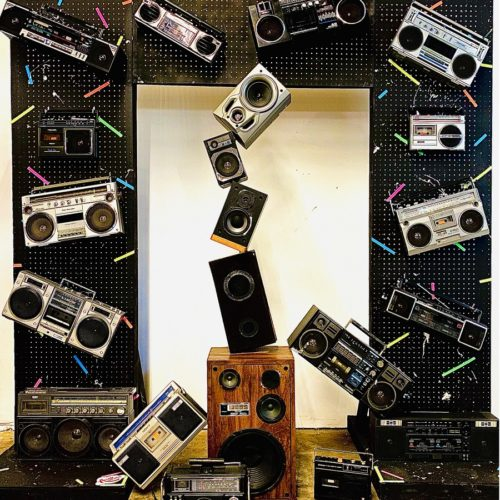 boombox wall 80s party prop rentals nyc